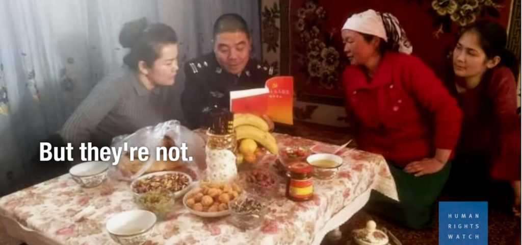 Xinjiang Officials Live with Residents to Investigate Belief. Image source: HRW video screenshot