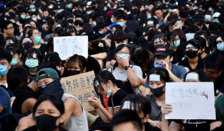 August 22, more than 1,000 Hong Kong middle school students participated in a strike.