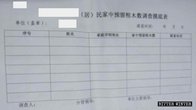 An investigation form to check the number of set-aside coffins in residents' homes in a locality in Jiangxi Province.