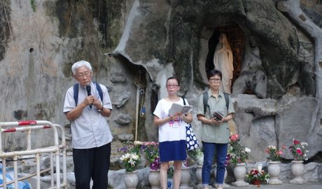 Cardinal Zen leads a prayer at St. Joseph Church, Central Hong Kong