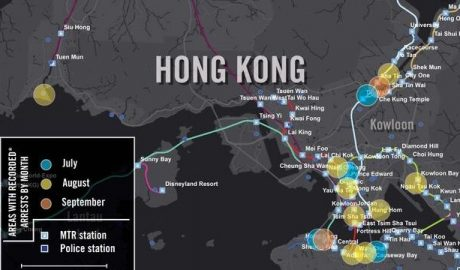 Map showing the protest-related arrests Amnesty International documented