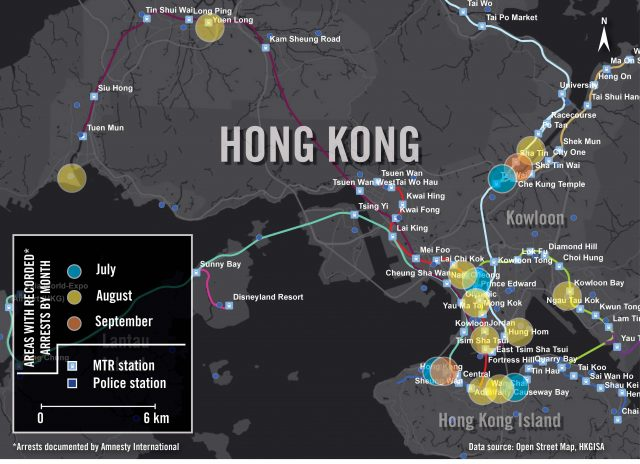 Map showing the protest-related arrests Amnesty International documented from July to September 2019