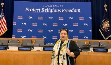 Uyghur internment camp survivor Zumuret Dawut attends an event on global religious freedom on the sidelines of the U.N. General Assembly in New York, Sept. 23, 2019