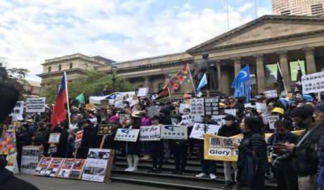 Over 200 protestors gathered before the State Library Victoria, Melbourne
