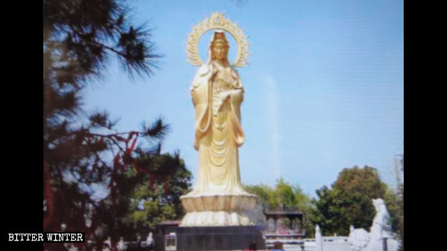 The central statue of the composition on Guanyin Island was 18-meters tall.