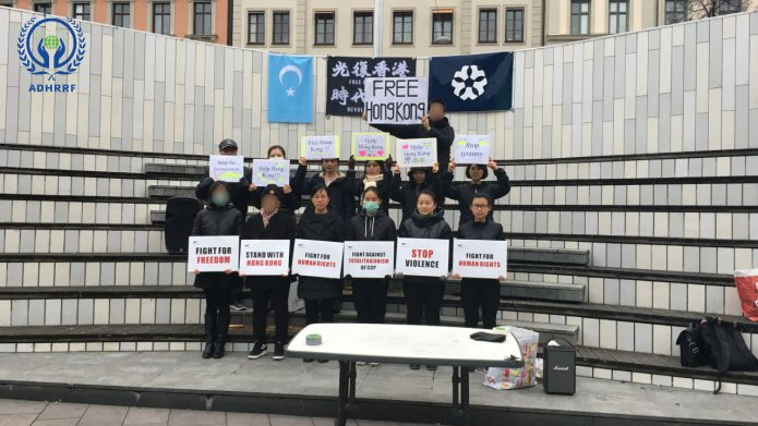 HK District Council Election Day: Sweden Anti-Totalitarianism Rally Supports HK