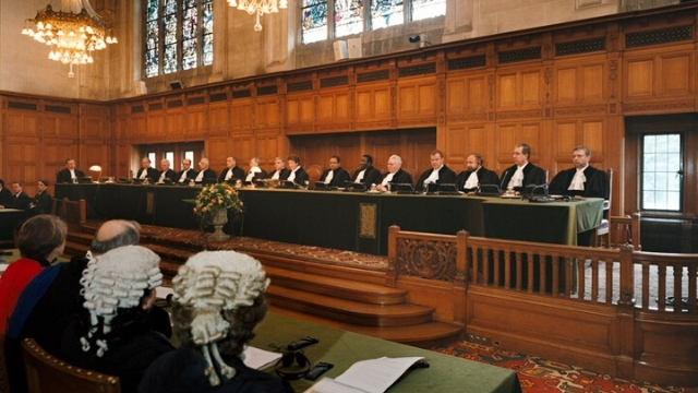 A hearing at the International Court of Justice