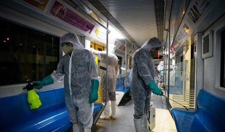 Disinfection of Tehran subway wagons against coronavirus