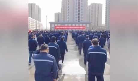 An image widely shared on social media that purportedly shows a group of detainees in the Xinjiang Uyghur Autonomous Region's (XUAR) Korla (Kuerle) city, March 2020.