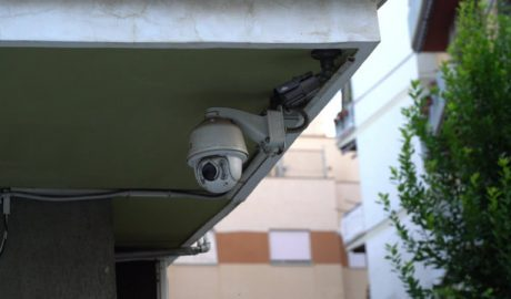 Surveillance camera under the eaves