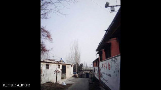 Surveillance cameras were installed outside a church manager's house in Mengzhuang town.
