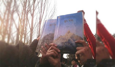Tibetan students in Sichuan's Ngaba prefecture protest to demand classroom instruction in Tibetan in a file photo.
