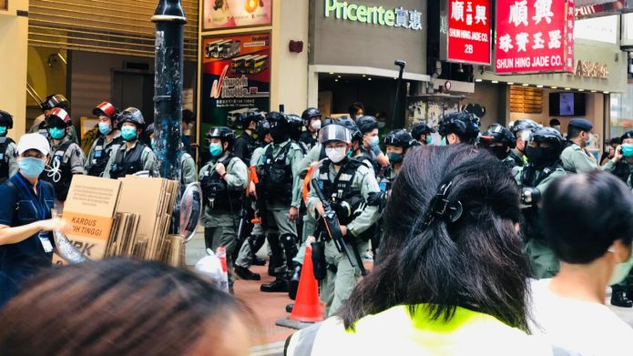 Hong Kong Police Disperse Protesters Opposing National Security, Anthem Laws