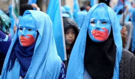 A protest against the CCP's suppression of Uyghurs.