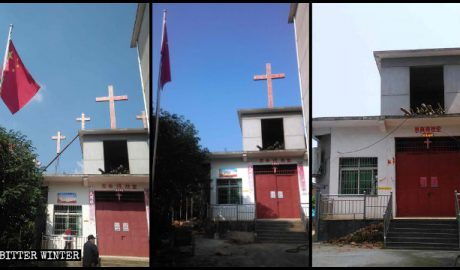 All Seven crosses were removed from the church in Xishan town.