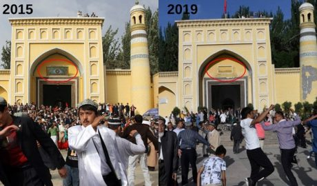 Side-by-side images show Kashgar's Id Kah mosque in 2015 and in 2019, after the removal of the plaque and the star-and-crescent structures from the tops of the its dome and minarets
