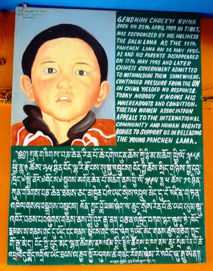 Sign referring to the disappearance of the 11th Panchen Lama chosen