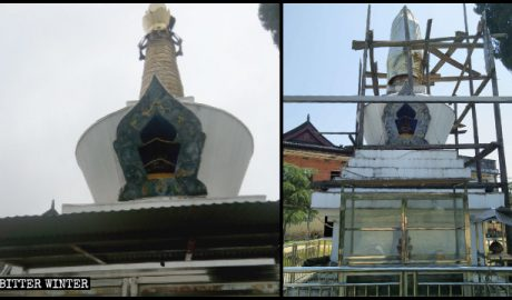 The Tibetan Buddhist stupa in Yichun was rectified to prevent its demolition.