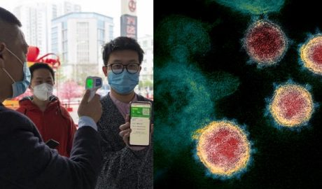 photo on the left that People showing their health codes before entering a shopping mall; photo on the right that This transmission electron microscope image shows SARS-CoV-2—also known as 2019-nCoV