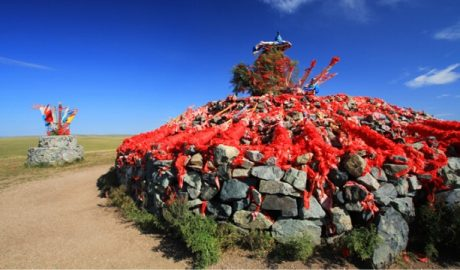 An aobao (heap of stones) testifies to the persistence of traditional religion in Inner Mongolia