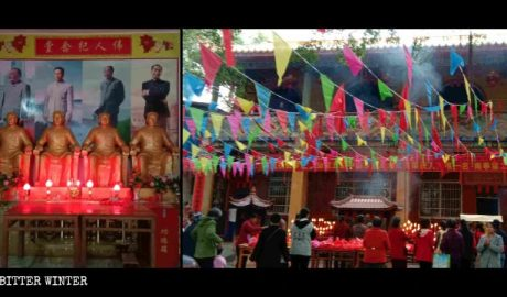 "People worshiping ""CCP's great men"" in the Tongsheng Temple in Guangxi's Beiliu city."