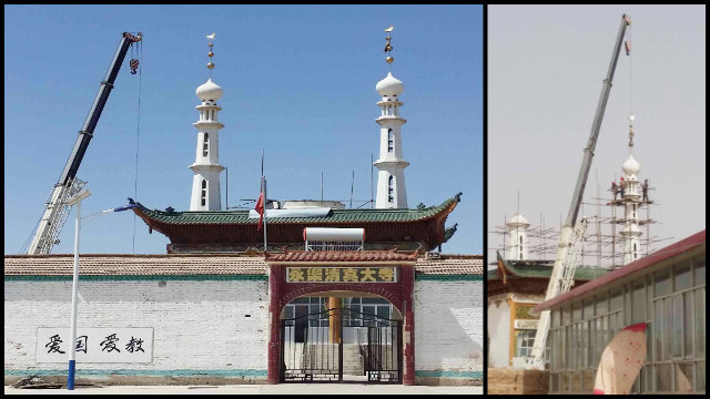 In April, the dome and minarets were removed from the Yongle Mosque in Baiyin city in the northwestern province of Gansu.