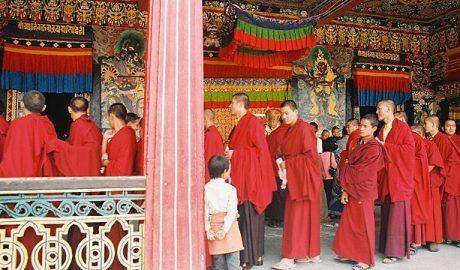 Lamas at the Rumtek monastery in Sikkim.