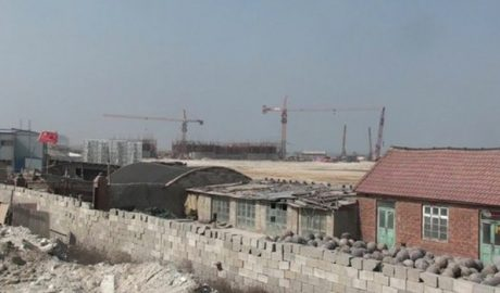 """Land seized for a mass rural resettlement program of """"village mergers"""" that was suspended amid public and state media criticism in Lanling county in the eastern Chinese province of Shandong"""