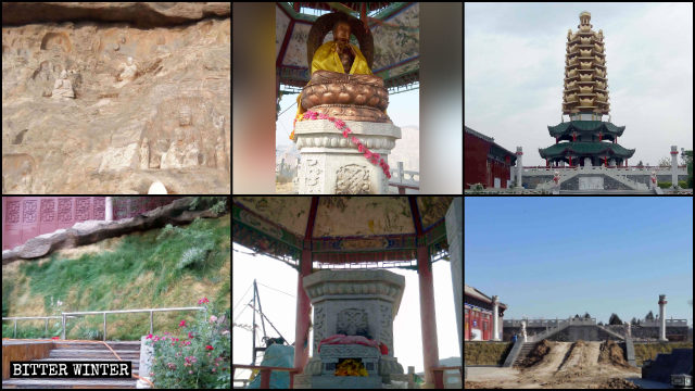 Numerous statues and towers surrounding the temple were removed.