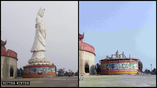 The Guanghan Temple's Guanyin statue before and after the demolition.