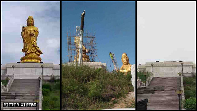 The Guanyin statue in the Xin'an Temple was destroyed, its doors sealed.