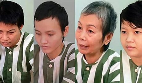 "The four defendants in the ""corpse-in-concrete"" trial from the left, Huyên, Thảo, Hà's mother, and Hà"