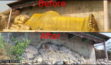 The reclining Buddha statue was also demolished.