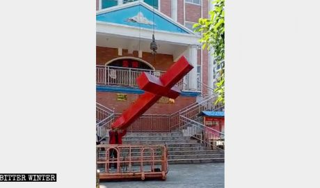 The Hancheng Church lost is cross on April 28.