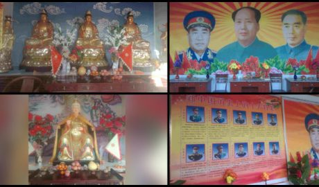 A Buddhist temple in Julu county has been converted into a Mao Zedong Memorial Hall, and its statues of deities replaced with those of Mao Zedong and other state leaders.