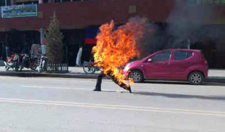 A Tibetan burns himself in an apparent self-immolation protest in eastern Tibet.