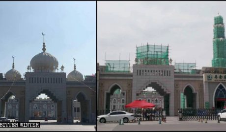 Symbols above the entrance to the Yuehai Great Mosque are being removed.