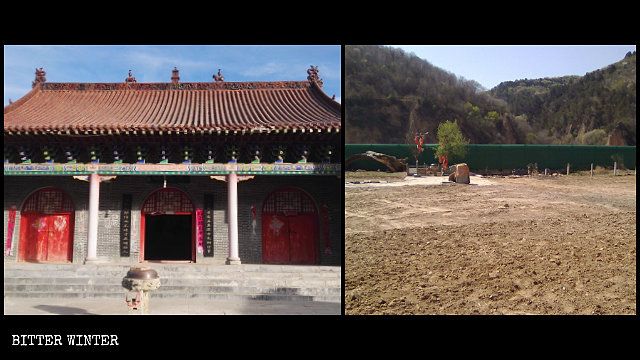 The Bailong Temple in Yan'an-administered Fu county fell victim to the government's persecution.