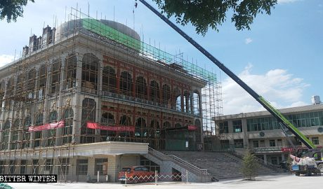 The Dongjiao Grand Mosque in Kongtong had its dome removed in May.