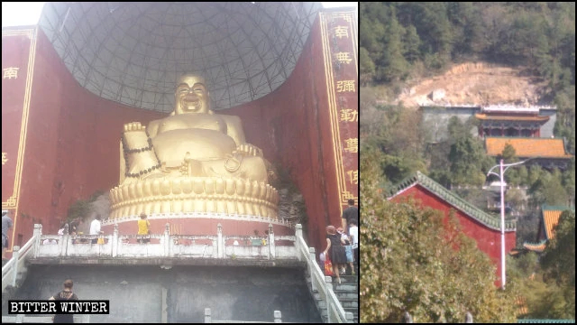 The Maitreya statue in the Yongfu Temple before and after it was destroyed.