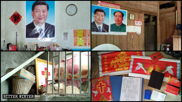 Xi Jinping and Mao Zedong images replaced religious symbols in the homes of impoverished Christians in Jiangxi's Jiujiang and Nanchang cities.