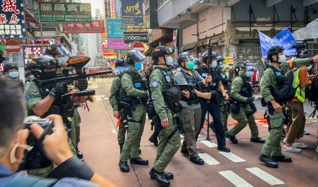 Thousands of riot police officers have been deployed in Hong Kong
