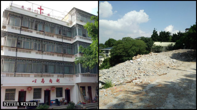 The 5-story nursing home in Gushan was turned into ruins.