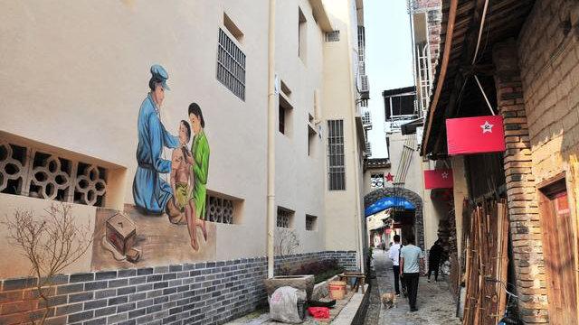 "The one-kilometer-long ""red gallery"" in Renju village."