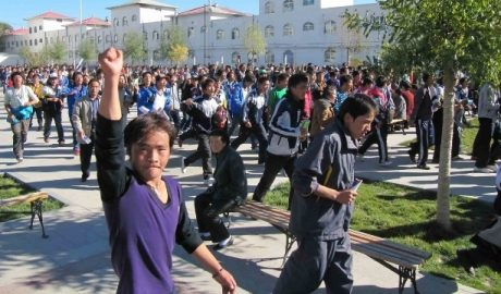 Tibetan students protesting against the marginalization of Tibetan language
