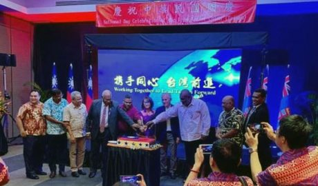 The Taiwan Office in Fiji holds a celebration to mark Taiwan's Oct. 10 National Day on Oct. 8, 2020.