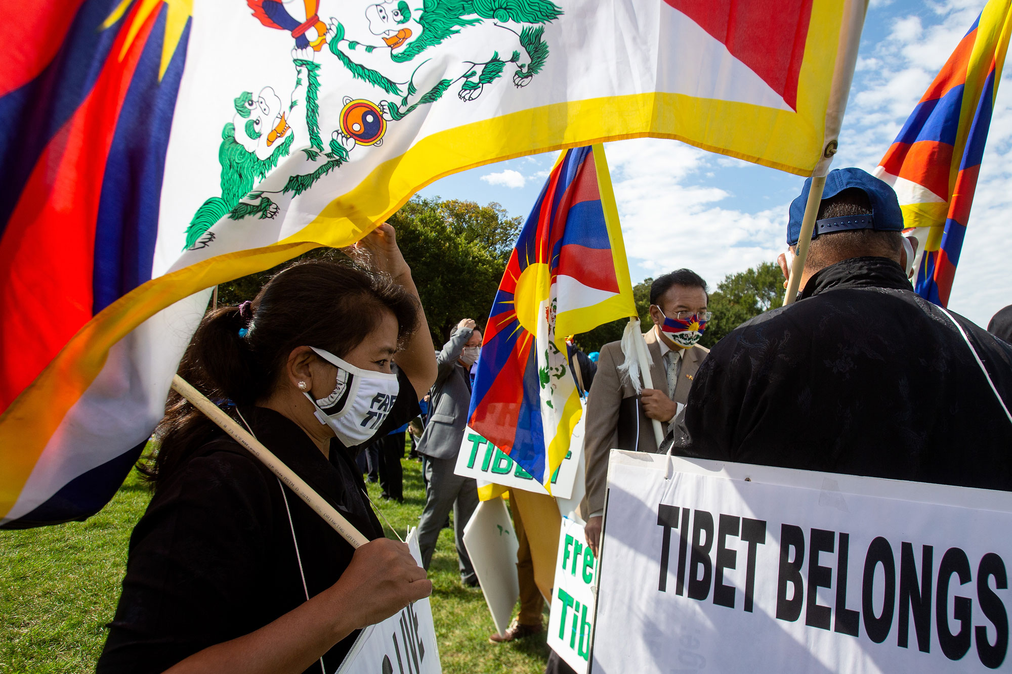 "Tibetan protesters participate in ""Resist CCP: Global Day of Action"" in front of the Capitol Reflecting Pool in Washington D.C., Oct. 1, 2020"
