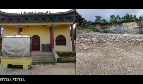 The Longshan Temple before and after the demolition.