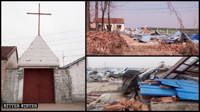 A house church venue in Hangzhou's Yuhang district was demolished.