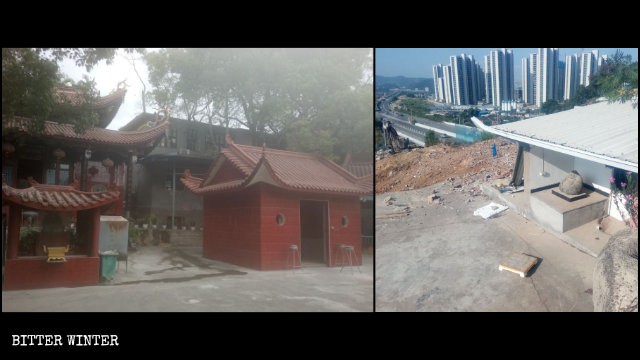 Some halls in the Guanyin Pavilion were demolished.